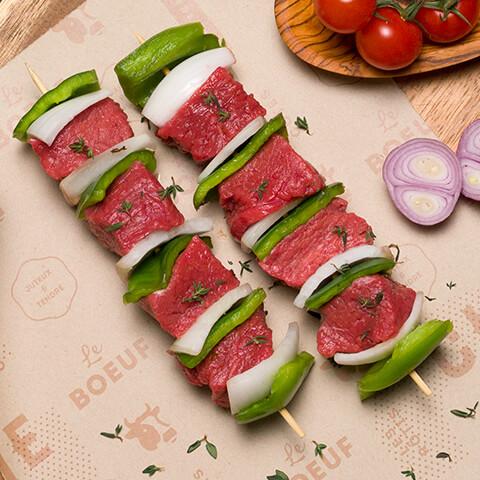 Brochettes de bœuf avec légumes - Chicoine
